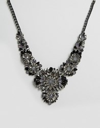 Little Mistress Gunmetal Jewelled Statement Necklace Gunmetal Grey