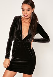 Missguided Long Sleeve Plunge Ruched Waist Velvet Dress Black