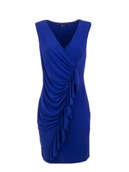 Morgan Ruched Pencil Dress With Frill Trim Blue