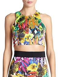 Milly Tropical Print Racer Crop Top Multi