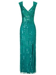 Ariella Samantha Sequin Long Dress Teal