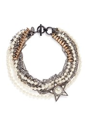 Venna Strass Pearl Star Charm Mix Chain Necklace Metallic