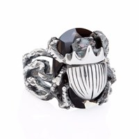 Yasmin Everley Jewellery Little Scarab Cocktail Ring Black Silver