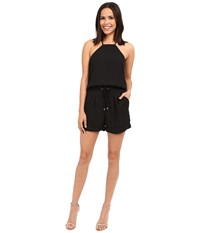 Brigitte Bailey Susie Drawstring Romper Black Women's Jumpsuit And Rompers One Piece