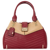 Dune Dubster Quilted Multi Compartment Handbag Burgundy Camel