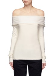 Maiyet Folded Off Shoulder Cashmere Blend Sweater White