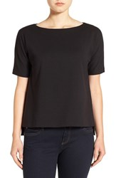 Eileen Fisher Women's Bateau Neck Stretch Ponte Top Black