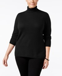 Charter Club Plus Size Cashmere Turtleneck Sweater Only At Macy's Classic Black