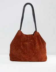 Asos Suede Unlined Shopper Bag With Wrap Handle Rust Red