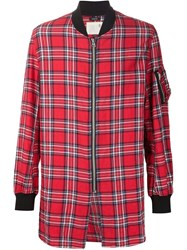R 13 R13 Oversized Zipped Check Shirt Red