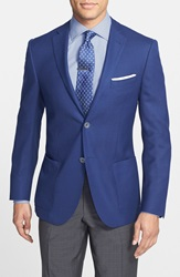 Corneliani Classic Fit Wool And Flax Blazer Medium Blue