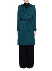 Theory 'Laurelwood' Silk Georgette Trench Coat Blue Green