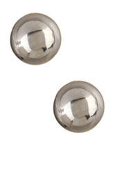 14K White Gold Ball Stud Earrings No Color