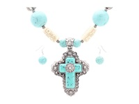 Mandf Western Turquoise Cross Large Bead Necklace Earring Set Turquiose Black Jewelry Sets Blue