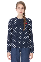 Comme Des Garcons Polka Dot Long Sleeve T Shirt Navy White Red