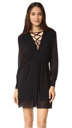 Fuzzi Laced V Neck Dress Nero