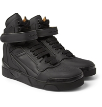 Givenchy Metal Trimmed Leather High Top Sneakers