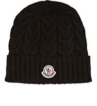 Moncler Men's Cable Knit Virgin Wool Beanie Black