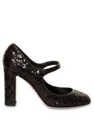 Dolce And Gabbana Block Heel Sequin Pumps Black