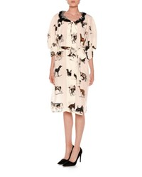 Stella Mccartney Dog Print Elbow Sleeve Silk Dress Multi Multi Colors