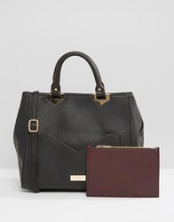 Lipsy Tote Bag With Contrast Pocket Black Wine