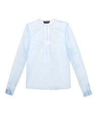 Rochas Lace Bib Raw Silk Blouse