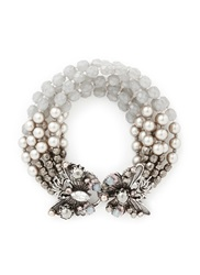 Miriam Haskell Butterfly Clasp Multi Strand Pearl Bracelet Grey Metallic