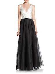 Vera Wang Two Tone Satin And Organza Gown Ivory Black