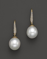Bloomingdale's Cultured South Sea Pearl Drop Earrings With Diamonds In 18K Yellow Gold 10.5Mm Gold White