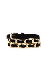 Forever 21 Skinny Faux Suede Chain Belt Black