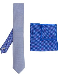 Canali Printed Tie And Handkerchief Blue
