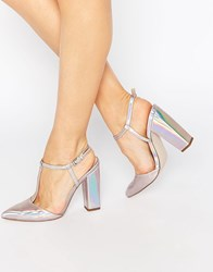 Little Mistress Mollie T Bar Pointed Heeled Shoes Holographic Silver