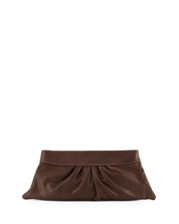 Lauren Merkin Louise Lizard Embossed Clutch Bag Brown