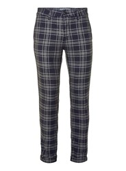 Topman Navy And Grey Check Stretch Skinny Trousers Blue