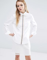 Fred Perry Boyfriend Shirt With Tipped Placket White