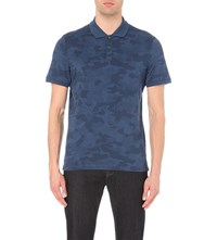 Michael Kors Camouflage Patterned Cotton Polo Shirt Prussian Blue