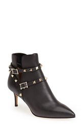 Women's Valentino 'Rockstud' Pointy Toe Calfskin Leather Bootie Black