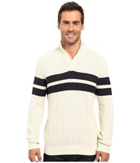 Nautica 9 Gauge Chevron Striped Mock Neck Sweater Bone White Men's Sweater