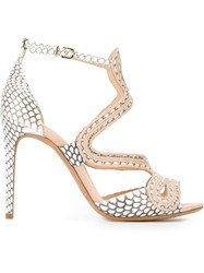 Alexandre Birman Printed Stiletto Sandals Nude And Neutrals