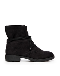 Xti Flat Lace Up Ankle Boots Blackmicro