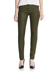 7 For All Mankind Gwenevere Coated Skinny Jeans Olive
