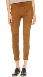 Getting Back To Square One Suede Crop Leggings Cognac