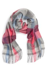 Nordstrom Women's Plaid Cashmere Scarf Pink Combo