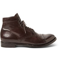 Officine Creative Anatomia Glossed Leather Boots Brown