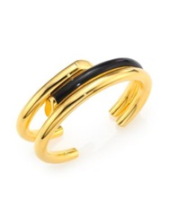 Maiyet Empire Black Horn Triple Cuff Bracelet Gold Black