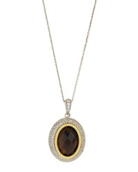 Jude Frances Smoky Topaz And White Sapphire Pendant Necklace