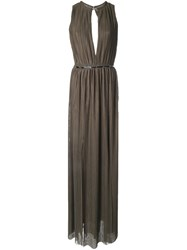 Jay Ahr Plisse Evening Gown Green