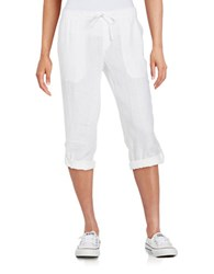 Lord And Taylor Petite Linen Rolled Cuff Capris White