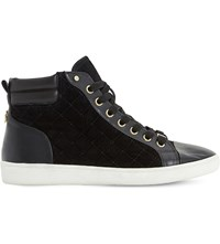 Dune Entourage Leather High Top Trainers Black Leather Mix