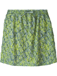 Odeeh Frayed Lattice Printed Skirt Green